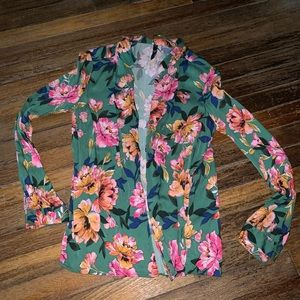 Green floral Zara blouse